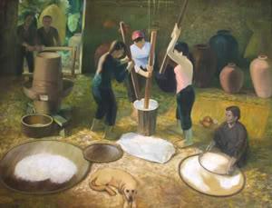 Giã gạo bằng chày