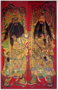 Hai vị môn thần, mặt đen là Uất Trì Cung, mặt vàng là Tần Quỳnh.