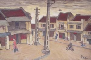 Phố Hàng Bạc, tranh của Bùi Xuân Phái.