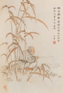 Một bức tranh Trung Quốc vẽ cảnh Khương Thượng câu cá