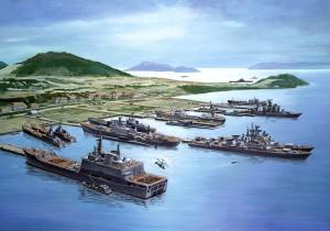 Hình vẽ minh họa căn cứ hải quân của Liên Xô tại vịnh Cam Ranh vào khoảng đầu thập niên 1980