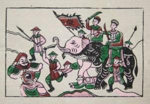 Hai Bà Trưng đánh đuổi Tô Định (tranh Đông Hồ)