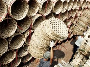 Kho bãi cơ sở Lâm Nho xuất khẩu sọt tre tại huyện Củ Chi, TP.HCM